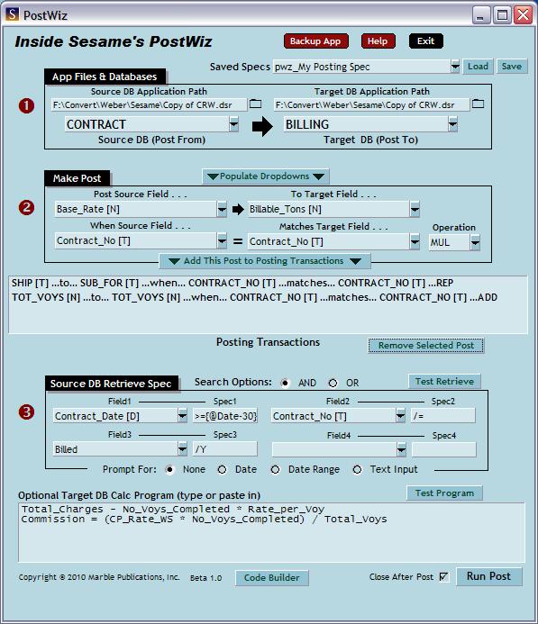 Interactive database posting popup